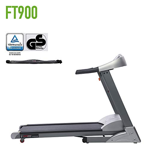 Fitifito FT900 mit TÜV GS Siegel Profi Laufband 7PS 22km/h, Dämpfungssystem, 5 Trainingsmodulen inkl. HRC - Klappbar, Tablethalter, Silber, Pulsgurt
