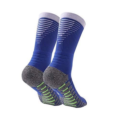 Manbozix Calcetines de Hombre Calcetines Deportivos Transpirables Calcetines de Fútbol Calcetines Deportivos Antideslizantes Unisex 38-45, Control de Humedad, Azul