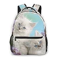 猫柄 印刷 ラップトップバックパック大学バックパック防水レジャーバックパックバックパックジムバッグ
