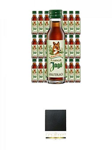 Fläminger Jagd Kräuterlikör 25 x 0,02 MINIATUR + Schiefer Glasuntersetzer eckig ca. 9,5 cm Durchmesser