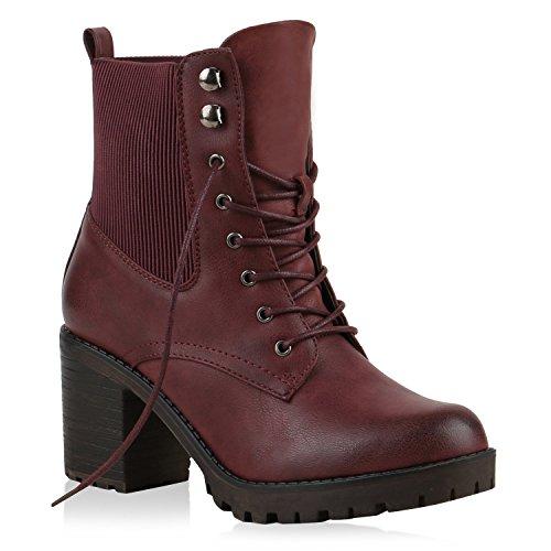 Stiefeletten Damen Schnürstiefeletten Plateau-Boots Profilsohle Leder-Optik Booties Damen Winter Schuhe 123828 Dunkelrot 36 Flandell