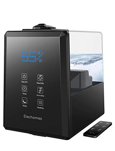 Elechomes UC5501 Ultrasonic Humidifier 6L Vaporizer Warm and Cool Mist for Large Room Baby Bedroom with Remote, Customized Humidity, LED Touch Display, Black