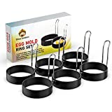 Egg Mold Ring Set (6 Pack) – Fry and Cook Eggs or Pancakes in Perfect Circle Shape – Food Grade, Non-Stick Stainless-Steel Material Round Cooker for Griddle and Frying Pan | Easy to Use and to Clean
