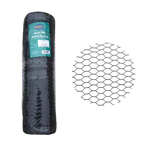 MTB PVC Hexagonal Poultry Netting Chicken Wire 36' x150' x 1' Mesh 20GA Black
