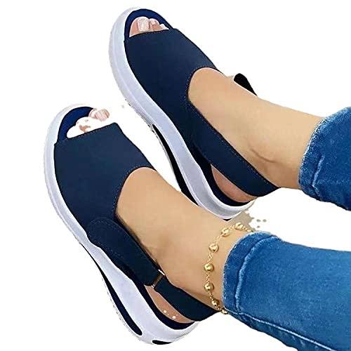 ZZLHHD Hebilla Punta Abierta Sandalias Mujer Plataforma Comoda,Advertising Magic Post Female Shoes, Casual Fish Mouth Sandals-Blue_41,B1