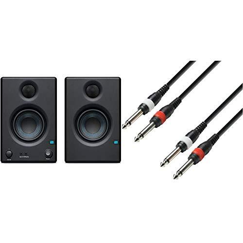 PreSonus ERISE3.5 Studio-Monitore & Adam Hall Cables K3TPP0100 Audiokabel 2 x 6,3mm Klinke Mono auf 2 x 6,3mm Klinke Mono 1m