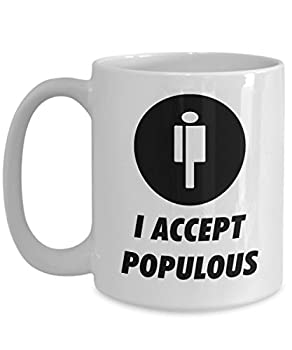 Official I Accept Populous Cryptocurrency Big Mug Acrylic Coffee Holder White 15oz Crypto Miner Blockchain Invest Trade Buy Sell Hold PPT