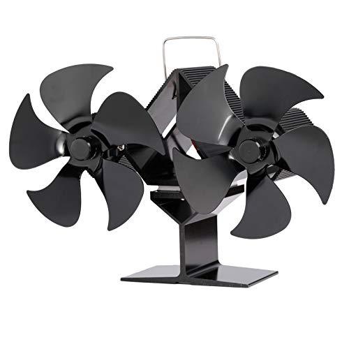 Ventilateur de cheminée à double tête à 10 pales, ventilateur de poêle à bois à double chauffage, Ventilateur écologique à bois pour cheminée silencieux pour une distribution efficace de la chaleur