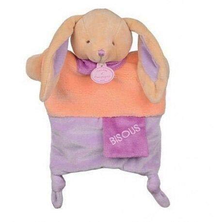 Doudou et Cie - Doudou Doudou et Compagnie Marionnette Petit Secret Lapin Bisous Orange et Violet foulard DC2784-9306