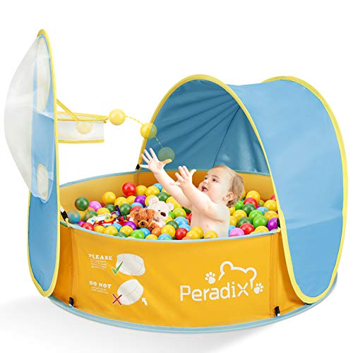 Peradix Piscina de Bolas para Bebés, Tienda de Juego Infantil, Carpa Interior y Exterior con Aro de Baloncesto, 2 en 1 Piscina de Bolas Bebe de Campaña para Bebés con Cesta Pop-up Piscina(Azul)