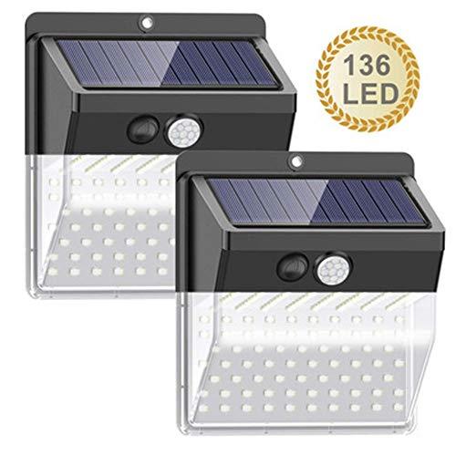 Nerioya 270 Grad Weitwinkel-Solarlicht Außenkörper Induktions-Lampe Hof Garten Wandleuchte 208Led,136 * 2