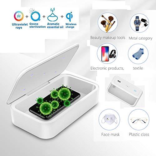 UV Sterilisator, Uv-desinfektionsbox mit induktiver ladefunktion, LED-Sterilisator Box mit 5 Lampenperlen Multifunktions Automatische Sterilisations für Smartphone,Kosmetika,Uhren, Brillen