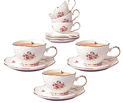 Jusalpha Porcelain Tea Sets Flower Series Tea Cup and Saucer Set-Coffee Cup Set with Saucer and Spoon FD-TCS11 (Set of 6)