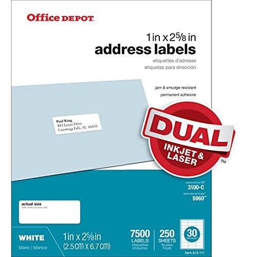 Office Depot White Inkjet/Laser Address Labels, 1in. x 2 5/8in, Box of 7,500, 505-O004-0005