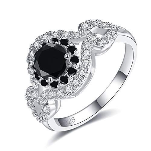 Emsione 925 Sterling Silver Plated Created Black Spinel 4-Prong Round Brilliant CZ Cut Halo Heart Wedding Engagement Anniversary Statement Eternity Ring for Women Girls Size 6 Color Black