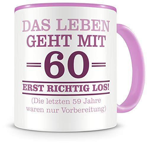 Samunshi® Mit 60 geht das Leben los Geburtstags Tasse Beruf Geschenk Kaffeetasse Teetasse Kaffeepott Kaffeebecher Becher 60 Jahre 300ml rosa/rosa