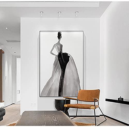 Poster moderno con stampa a inchiostro da parete per ragazze, motivo nodico, grigio per soggiorno, camera da letto, caffè, 60 x 90 cm, senza cornice