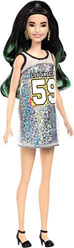 Barbie FXL50 Fashionistas pop in zilveren trui met zwart groene haren, poppen speelgoed vanaf 3 jaar