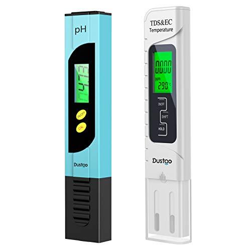 Dustgo Testeur pH Mètre électronique, TDS&EC Mètre Température, 4 en 1 Testeur de qualité de l'eau avec Écran LCD, Auto-Calibration, Test pour Piscine, Aquarium, Laboratoire,etc.