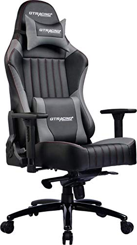 GTRACING Big and Tall Gaming Chair High Back Leather Carbon Fiber Memory Foam Computer Chair Adjustable Tilt Upgrade Mechanism 4D Armrests Ergonomic Racing Executive Office Chair Metal Base,Gray