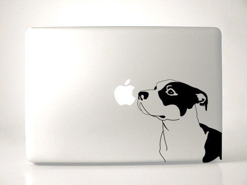 Pitbull Dog Breed Sniffing Apple - Black Decal for 13' MacBook
