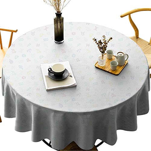 Water Resistant Round Tablecloth Easy to Clean Outlined Colorful Zodiac Signs Pattern on Pale Grey Backdrop Abstract Fun Design Diameter 52 inch for Buffet Table, Banquet, Parties, Holiday Dinner
