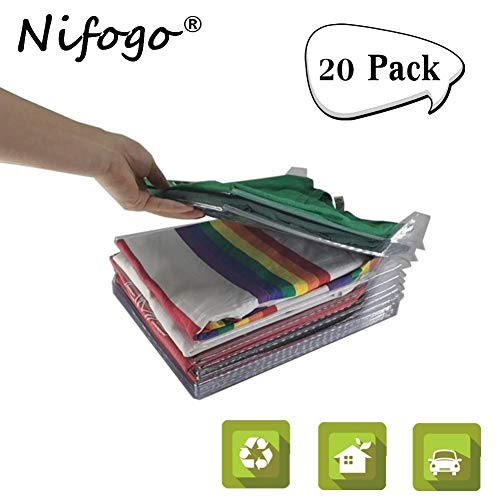 Nifogo Kleiderschrank Organizer, Kleidung Organisieren Klappbrett, Lazy Klappbrett, Faltbrett, T-Shirt Kleidung Ordner, Sparen Sie Raum Falten Prävention (20 Pack)
