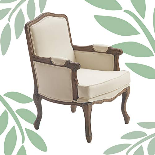 Finch Elmhurst French Vintage Armchair, Upholstered Fabric Dining Accent Design, Perfect for Living Room, Antiqued Wood