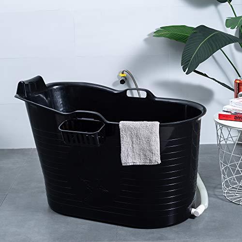 Schwänlein® Mobile Badewanne, Ideal für das kleines Badezimmer, 97x55x63cm, Stylisch und Stimmungsvoll (Schwarz)