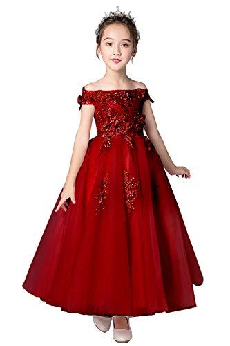 MisShow Little Kids Girls Flower Wedding Dress Floor Length Princess Dress Burgundy 110