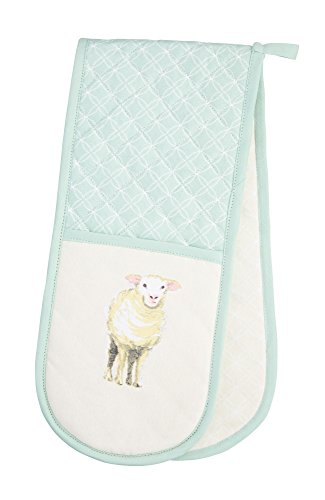"Kitchen Craft Textiles 100% Cotton 'Farmyard Animals' Printed Double Oven Gloves, 86 x 18 cm (34"" x 7"") – Cream/Sage Green, 87 x 1 x 18,5 cm"
