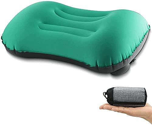 Almohada hinchable, almohada hinchable, ultraligera, de prensa de mano, cómoda para dormir en viajes, senderismo o senderismo