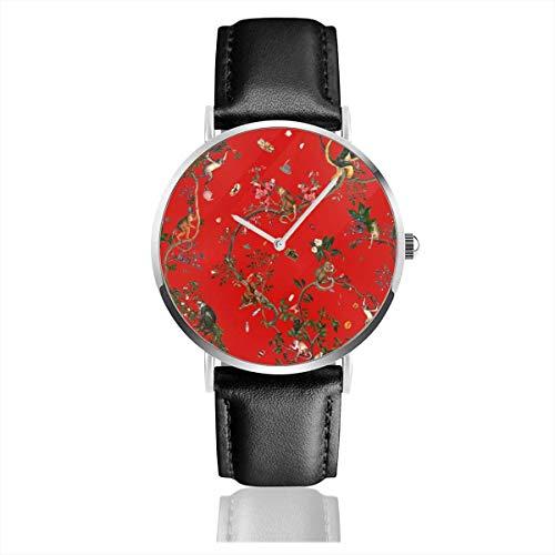 Armbanduhr Quarzuhr Monkey World Reportable Red Casual Uhren mit schwarzer Lederuhr