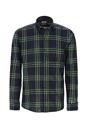 Bones Camisas DE Hombre Semi Hilo (Ver Medidas para Elegir TU Talla) (Verde/Marino, 3XL)