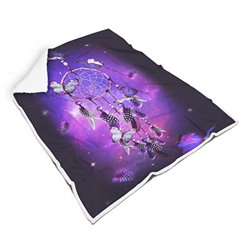 Lind88 Manta con diseño de atrapasueños, diseño mágico, estampado de mariposa, manta de forro polar, súper cómoda, se adapta a un amigo, uso de regalo blanco, 60 x 80 pulgadas