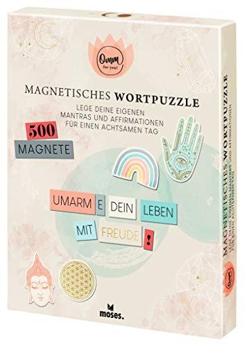 Moses Omm for you Magnetisches Wortpuzzle   Für eigene Mantras und Affirmationen   Magnete für eigene Kühlschrank-Poesie   Magnet-Bögen mit Wörtern, Endungen und Symbolen