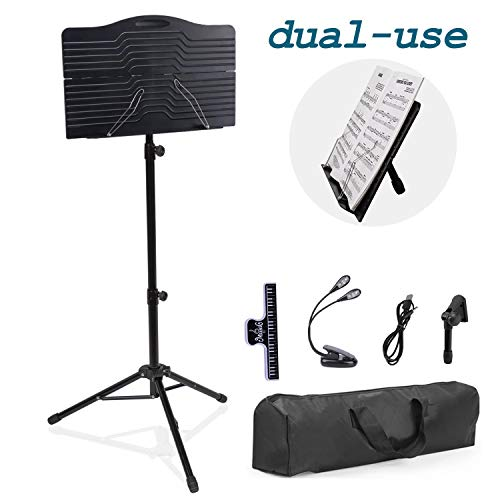 T-SIGN Dual-Use Sheet Music Stand, Tabletop Music Book Stand, Music Stand for Sheet Music, Portable Music Stand for Desktop and Floor Use, Professional Collapsible Music Stand with Carrying Bag