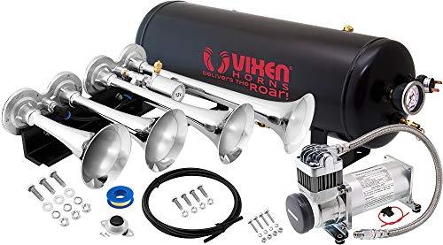 Vixen Horns Train Horn Kit for Trucks/Car/Semi. Complete Onboard System- 200psi Air Compressor, 2.5 Gallon Tank, 4 Trumpets. Super Loud dB. Fits Vehicles Like Pickup/Jeep/RV/SUV 12v VXO8325/4124C