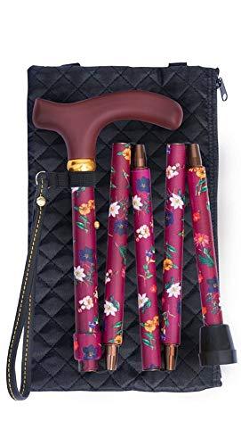 Classic Canes Gehstock / Spazierstock für Damen, mit floralem Design, verstellbar, faltbar, cremefarben