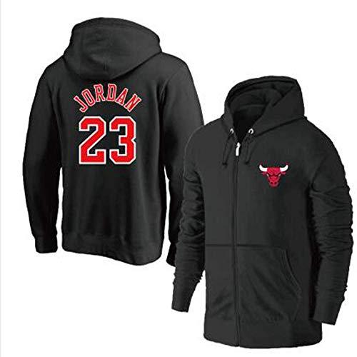 YSA Basketballjacke mit Kapuze für Männer - Chicago Bulls 23# Michael Jordan Reißverschluss Hoodie Basketball Trainingsanzug Fitnessbekleidungsjacke