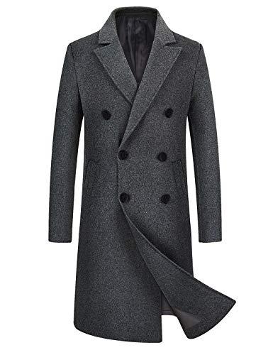 iCKER Mens Trench Coat Winter Wool Blend Jacket Overcoat Long Top Coat Warm Pea Coat-1905-Grey-Medium