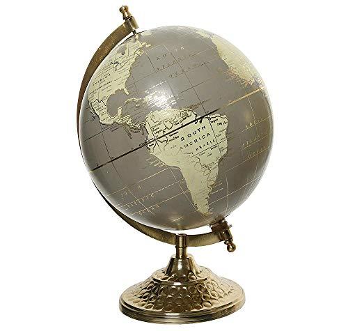 zeitzone Globus Grau Gold Weltkugel mit Ständer Standglobus Geografische Karte Ø 20cm