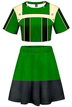 Baycon My Hero Academia Asui Tsuyu Cosplay Costume Cheerleader Cheerleading Uniform Crop Top Dress Medium