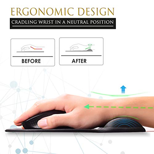 MROCO Ergonomic Mouse Pad with Wrist Support Gel Mouse Pad with Wrist Rest, Comfortable Computer Mouse Pad for Laptop, Pain Relief Mousepad with Non-slip PU Base for Office & Home, 9.4 x 8.1 in, Black Photo #2