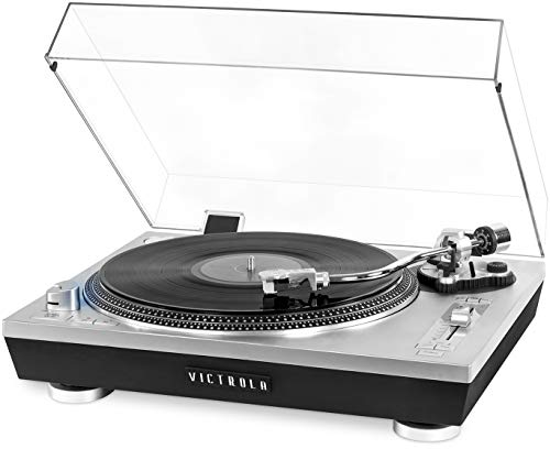 Victrola Pro Series USB Record Player with 2-Speed Turntable and Dust Cover Silver (VPRO-2000-SLV)
