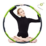 Kuyou Hula Hoop, Folding Fitness Wave Weighted 1 kg (2.2lbs) Adujustable Width 48-88cm (26.8-34.6in) for Youth Adults Ladies GYM Exercise (4 knots green + grey) with Waist Ruler (B-Green)