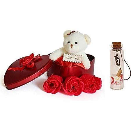 Lata Teddy Box With Flowers (6x4, Multicolour)