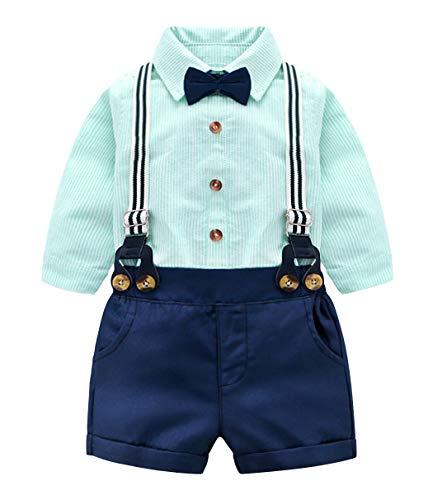 Edjude Bebé Niños Conjuntos de Ropa Partes de Arriba de Manga Corta Pantalones Cortos Traje de Caballero Formales Tirantes Corbata de Moño 4 Piezas 12-18 Meses Azul