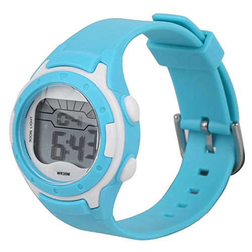 Anti-Allergie Langlebige und komfortable elektronische Armbanduhr, elektronische Uhr, Reisen für Jungen Schulkinder(9688-5 Cyan)