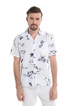 Men s Hawaiian Shirt Aloha Shirt 2XL The New Classic White Navy map Flamingo